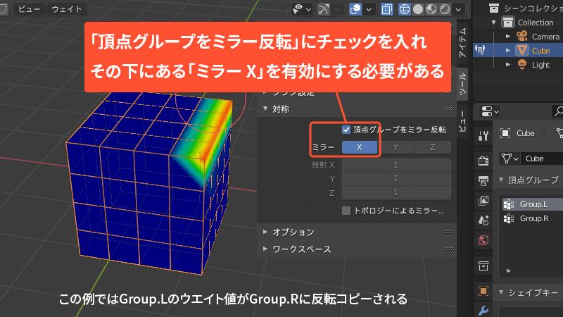 頂点グループの反転コピー